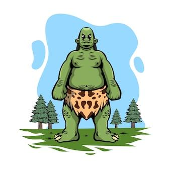 Grüne riesige monsterillustration