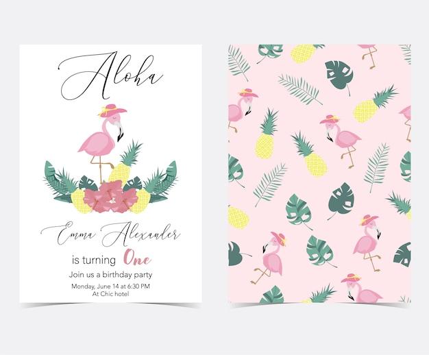 Grüne rosa einladungskarte mit palme, ananas, hibiskus, flamingo, bananenblatt und blume