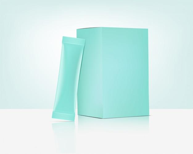 Grüne sachet-tasche 3d matte stick mit papierbox-modell lokalisiert auf weißem hintergrund. pastellillustration. konzeptdesign für lebensmittel- und getränkeverpackungen.