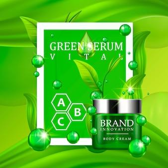 Grüne sahneflasche mit silberner kappe und grünen blättern auf saftigem hintergrund. hautpflege vitamin formel behandlungsdesign. werbekonzept für schönheitsprodukte für die kosmetikindustrie. vektor