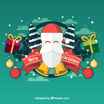 Grüne santa claus hintergrund mit geschenken und weihnachtskugeln