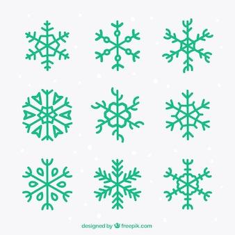 Grüne schneeflocke-ikonen