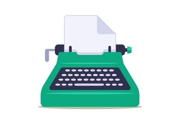 Grüne schreibmaschine mit leerem blatt papier.