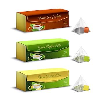 Grüne schwarze inder- und ceylon-teepyramide sackt den lokalisierten realistischen satzwerbungsverkauf der verpackungskästen ein