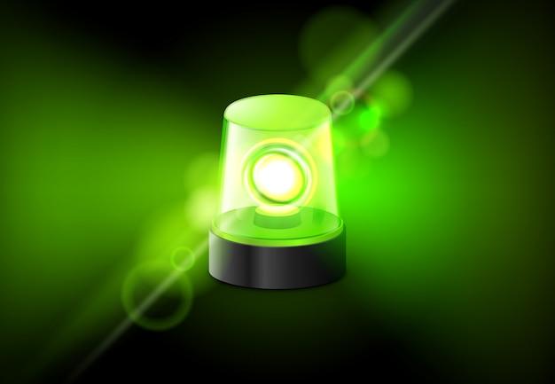 Grüne sirenenblinklampe. hintergrund des alarmsirenen-sirenenalarms
