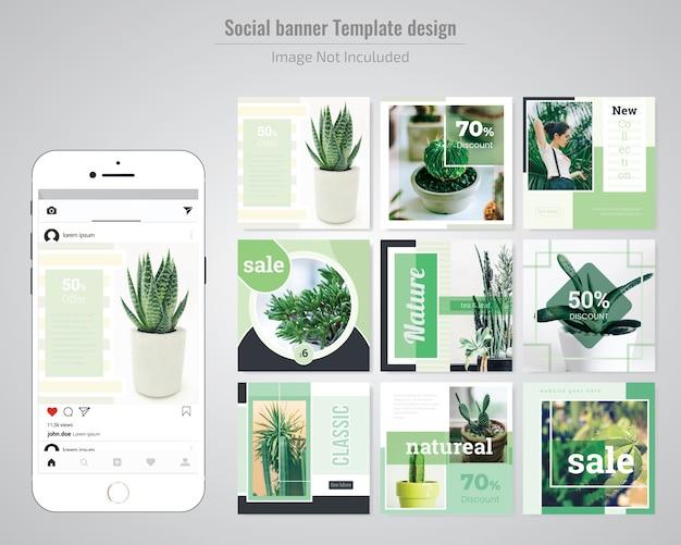Grüne social media beitragsvorlage