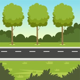 Grüne sommerlandschaft mit straße und bäumen, naturhintergrundillustration