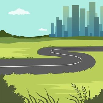 Grüne sommerlandschaft mit straßen- und stadtgebäuden, straße durch die landschaft in die stadt, naturhintergrundillustration