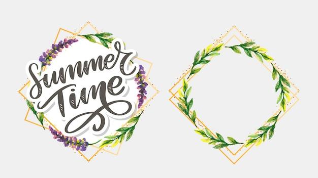 Grüne sommerzeitbuchstabenblumen im modernen stil auf buntem hintergrund. grußeinladungsillustration. blumenstraußdekoration. dekorationselement.