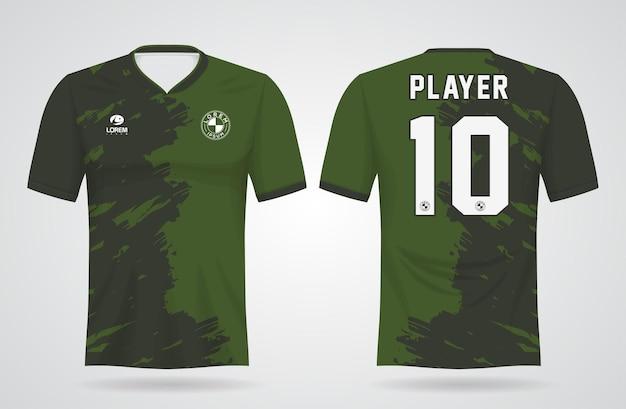 Grüne sporttrikotschablone für mannschaftsuniformen und fußball-t-shirt design