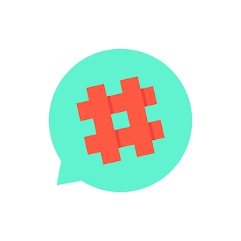 Grüne sprechblase mit rotem hashtag. konzept des mikroblogging, pr, popularität, blogger, gitter, gitter. isoliert auf weißem hintergrund. flat style trend moderne logo design vector illustration