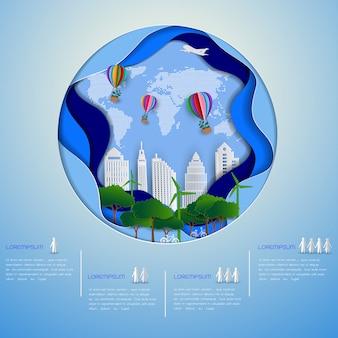 Grüne stadt eco auf papierkunsthintergrund, retten die umwelt