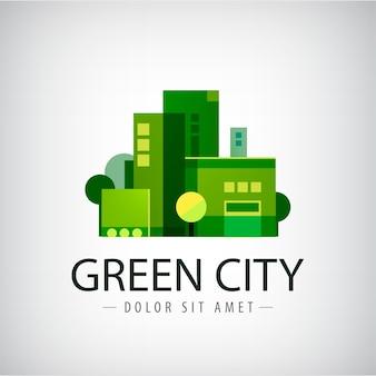 Grüne stadt, gebäude, öko