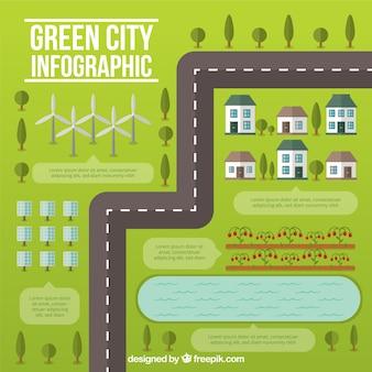 Grüne stadt mit einer straße infographie in flaches design