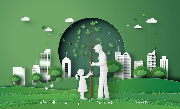 Grüne stadt mit familie