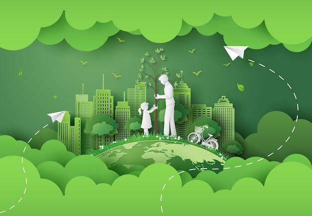 Grüne stadt mit papierschnitt der mutter und des mädchens und des digitalen handwerksstils.