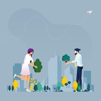 Grüne stadt. ökologiekonzept