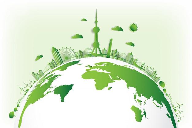 Grüne stadt rette die welt,