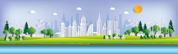 Grüne stadt rette die welt