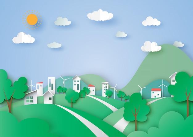 Grüne stadt- und naturlandschaftshintergrundpapierkunstart.