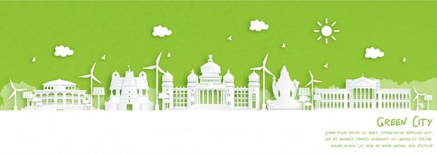 Grüne stadt von bengaluru, indien. umwelt- und ökologiekonzept im papierschnittstil.