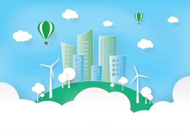 Grüne stadt, welt und umwelt,