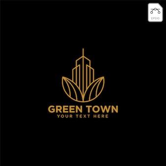 Grüne stadtlandwirtschaft mit goldfarblogo