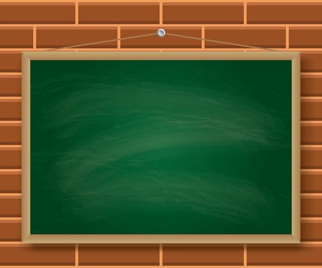 Grüne tafel, die an der backsteinmauerillustration hängt