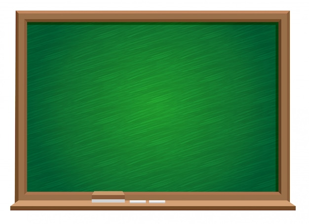 Grüne tafel mit tafel und radiergummi