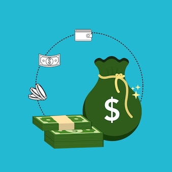 Grüne tasche rechnungen und münzen mit brieftasche