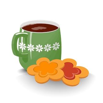 Grüne teekanne eine tasse isoliert weiß