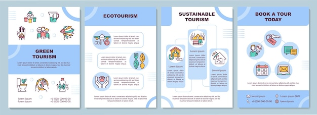 Grüne tourismusbroschürenschablone. ökotourismus-reisen. flyer, broschüre, faltblattdruck, umschlaggestaltung mit linearen symbolen.