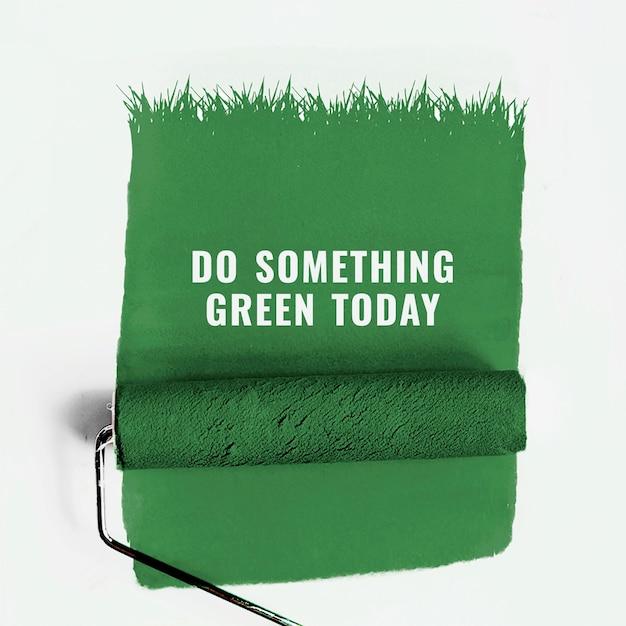 Grüne umweltschablone mit farbrollerhintergrund