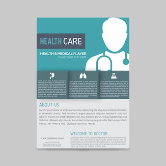 Grüne und blaue kästen mit weißen doktor silhouette medizinischen flyer