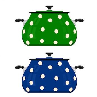 Grüne und blaue karikaturkasserolle. küchenutensilien