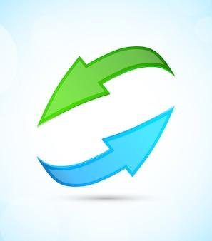 Grüne und blaue pfeile auf blauem hintergrund. illustration