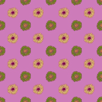 Grüne und gelbe farbige sonnenblumenschattenbilder nahtloses muster.