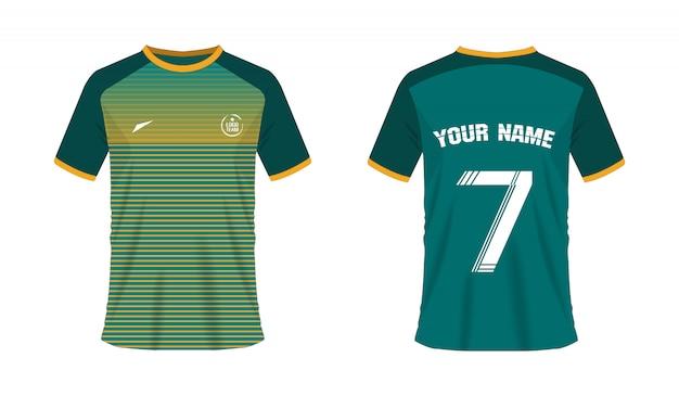 Grüne und gelbe fußball- oder fußballschablone des t-shirts für teamverein. jersey-sport,