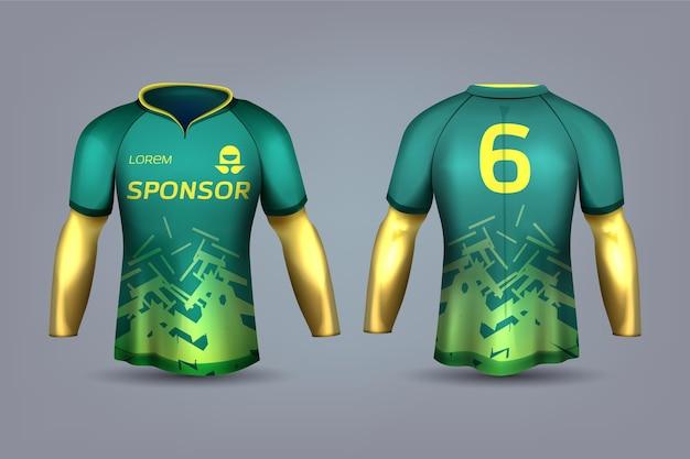 Grüne und gelbe fußballtrikotuniform