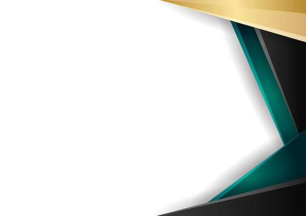 Grüne und goldene abstrakte geometrische hintergrundfarbverlaufs-zertifikatsvorlage. anzug für präsentationshintergrund, banner, poster, flyer, cover, visitenkarte und vieles mehr