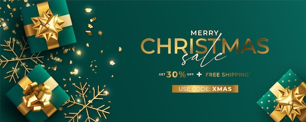 Grüne und goldene realistische weihnachtsverkaufsfahnenschablone