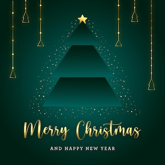 Grüne und goldene weihnachtsbaumpostkarte