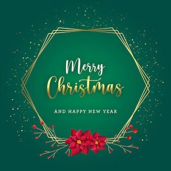 Grüne und goldene weihnachtskarte mit roten blumen und beeren