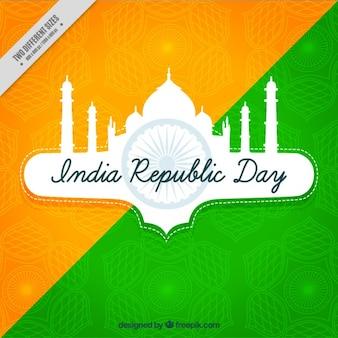 Grüne und orange hintergrund mit taj für indischen tag der republik