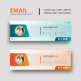 Grüne und orangefarbene e-mail-signaturvorlage