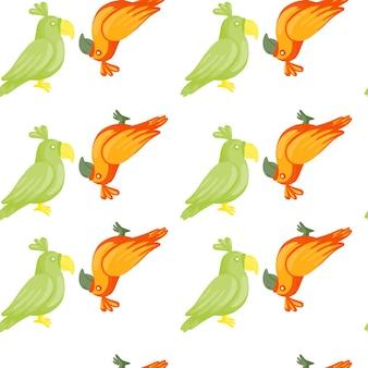 Grüne und orangefarbene papageien silhouetten nahtlose doodle-muster. weißer hintergrund. isolierter druck.