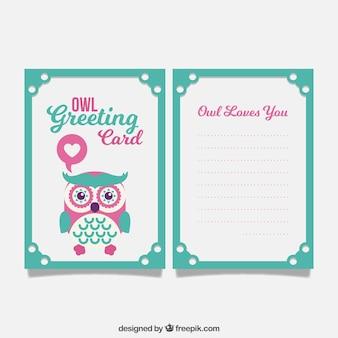 Grüne und rosa grußkarte mit netten eule