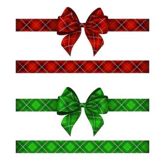 Grüne und rote tartanschleifen mit bändern