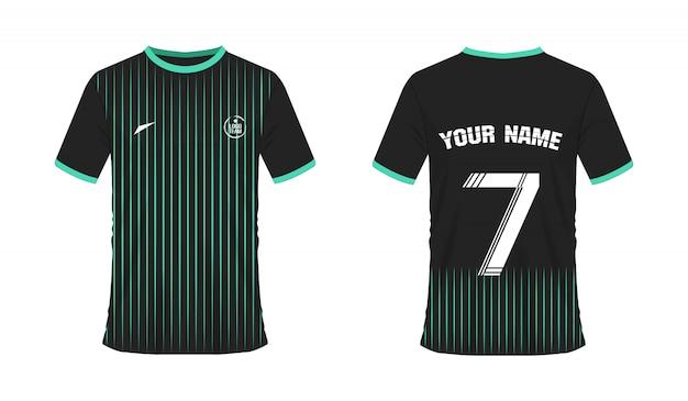 Grüne und schwarze fußball- oder fußballschablone des t-shirts für teamclub