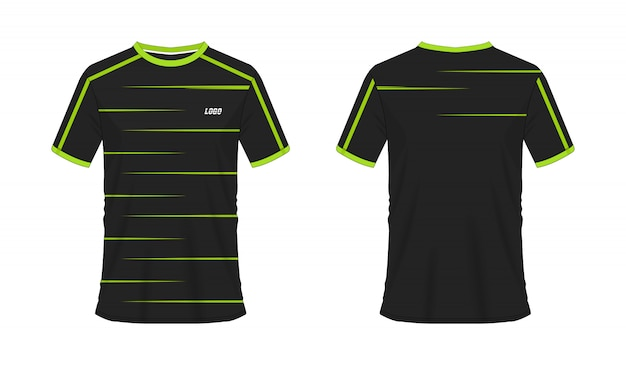 Grüne und schwarze fußball- oder fußballschablone des t-shirts für teamverein auf weiß